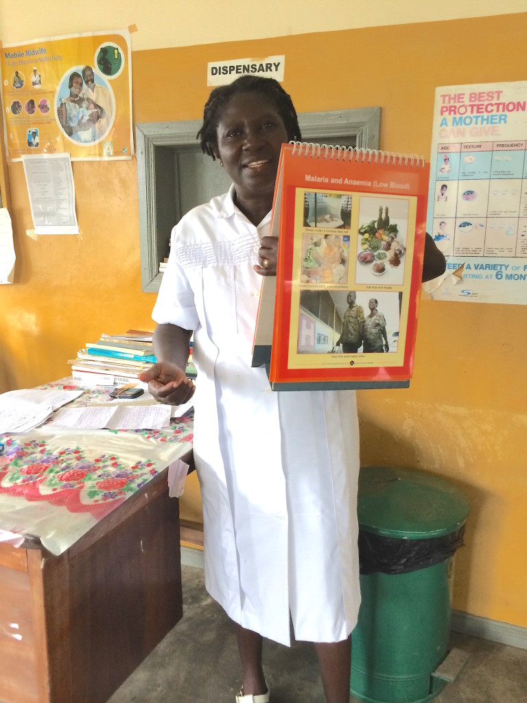 Monica shows some of her teaching materials in her classroom/clinic/office. Photo by Suzanne Skees for Skees Family Foundation.
