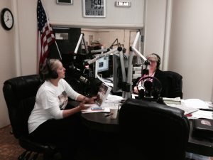 in studio with Rosemary Chalmers on Good Morning Monterey Bay discussing